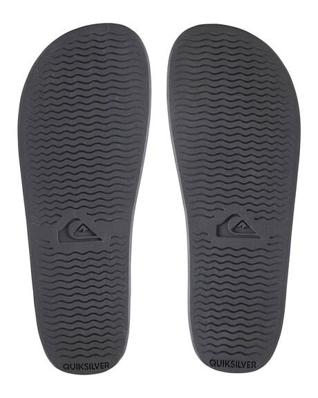 BLACK/BLACK/GREY MENS FOOTWEAR QUIKSILVER SLIDES - AQYL100867-XKKS