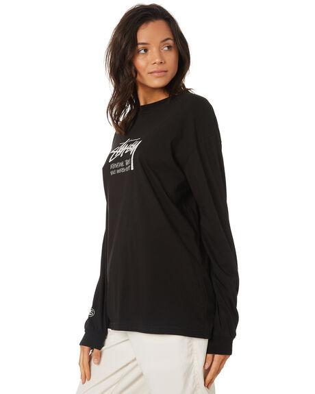 BLACK WOMENS CLOTHING STUSSY TEES - ST197006BLK