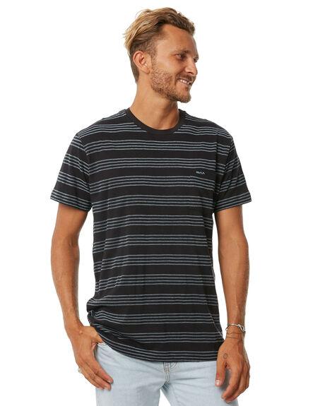 BLACK STRIPE MENS CLOTHING RVCA TEES - R371004BLK