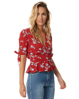 ROUGE FLORAL WOMENS CLOTHING RUE STIIC FASHION TOPS - S118-67ROUGE
