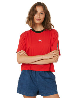 RED WOMENS CLOTHING STUSSY TEES - ST183004RED