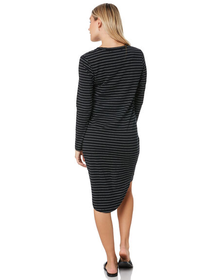 WHITE BLACK STRIPE WOMENS CLOTHING SILENT THEORY DRESSES - 6015011WBSTP