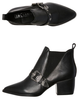 BLACK OUTLET WOMENS SOL SANA BOOTS - SS181W409BLK