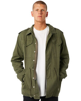 ARMY GREEN MENS CLOTHING THRILLS JACKETS - TW8-212FAGRN