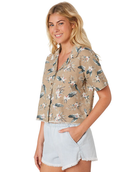 TAN FLORAL WOMENS CLOTHING THRILLS FASHION TOPS - WTR8-201CZTANF