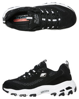 BLACK WHITE WOMENS FOOTWEAR SKECHERS SNEAKERS - 13142BKW