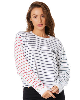 WHITE STRIPE WOMENS CLOTHING STUSSY TEES - ST105108WHSTP
