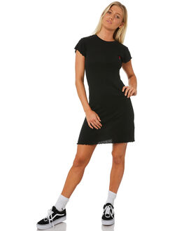 BLACK WOMENS CLOTHING RVCA DRESSES - R282763BLK