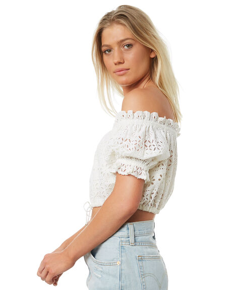 WHITE WOMENS CLOTHING TIGERLILY FASHION TOPS - T381047WHT