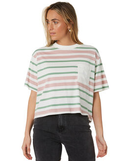 OFF WHITE WOMENS CLOTHING STUSSY TEES - ST193105OFWHT