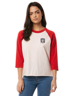 CHERRY RED WOMENS CLOTHING RVCA TEES - R284091CHERRY