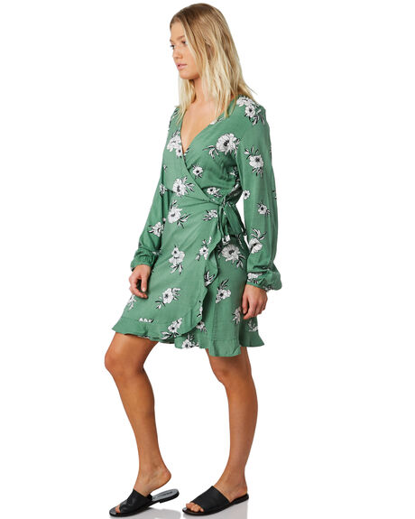 GREEN FLORAL WOMENS CLOTHING ELWOOD DRESSES - W91712-5FH