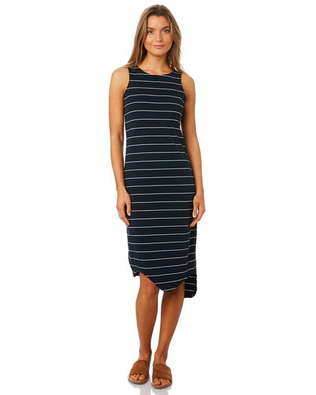 NAVY STRIPE WOMENS CLOTHING SILENT THEORY DRESSES - 6061028NAVY