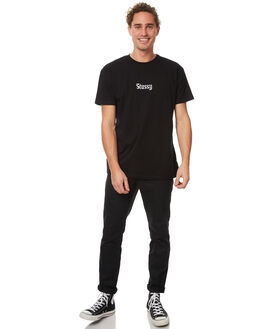 WASHED BLACK MENS CLOTHING STUSSY TEES - ST077008WBLK