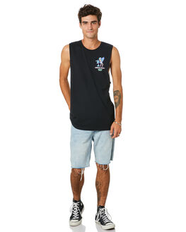 BLACK MENS CLOTHING THE LOBSTER SHANTY SINGLETS - LBSTROPFMBLK
