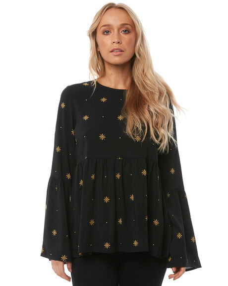 BLACK STARDUST WOMENS CLOTHING ALL ABOUT EVE FASHION TOPS - 6413010BLK