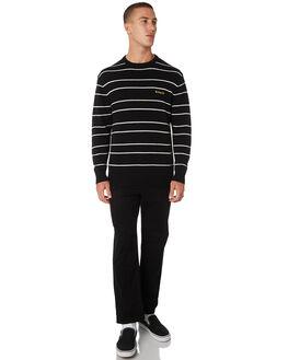 BLACK STRIPE MENS CLOTHING BARNEY COOLS KNITS + CARDIGANS - 402-CC2-BLKST