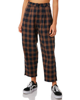 BLACK CHECK WOMENS CLOTHING STUSSY PANTS - ST197613CHECK