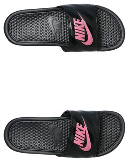 BLACK PINK WOMENS FOOTWEAR NIKE SLIDES - 343881-061