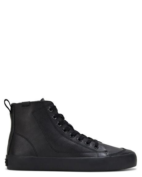 BLACK LEATHER MENS FOOTWEAR VOLLEY SNEAKERS - VBL002AY5