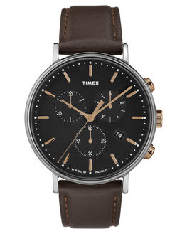 SILVER BROWN LEATHER MENS ACCESSORIES TIMEX WATCHES - TW2T11500SILBR