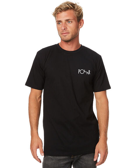BLACK MENS CLOTHING POLAR SKATE CO. TEES - STLOGOBLK