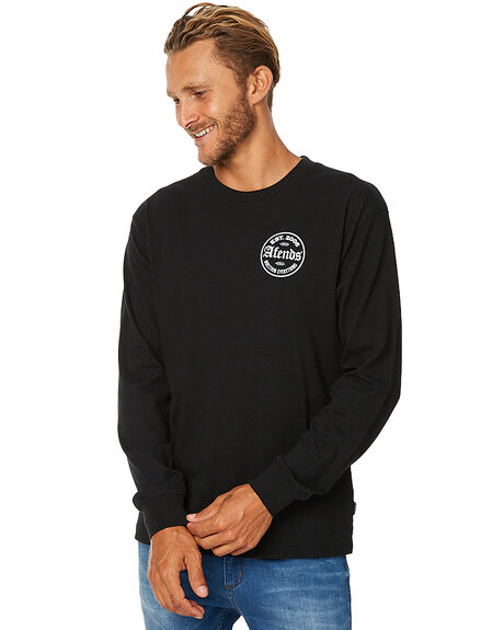 BLACK MENS CLOTHING AFENDS TEES - 02-02-083BLK