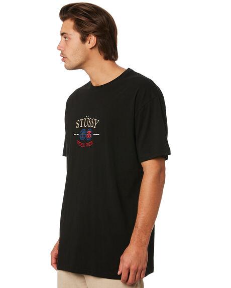 BLACK MENS CLOTHING STUSSY TEES - ST096004BLK