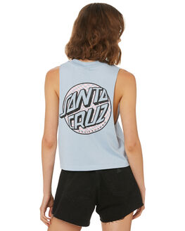 BLUE HAZE WOMENS CLOTHING SANTA CRUZ SINGLETS - SC-WTD8710BLU