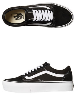 BLACK WHITE WOMENS FOOTWEAR VANS SNEAKERS - SSVN-0B3UY28BLKWW