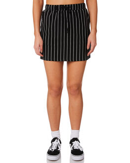 BLACK WHITE STRIPE WOMENS CLOTHING STUSSY SKIRTS - ST181500STRIP