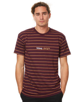 BURGUNDY MENS CLOTHING STUSSY TEES - ST077101BURG