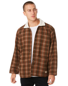 BROWN PLAID MENS CLOTHING THRILLS JACKETS - TW9-218JZBRWNP