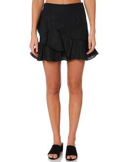 BLACK LINEN WOMENS CLOTHING MLM LABEL SKIRTS - MLM479BBLK