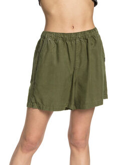 BURNT OLIVE WOMENS CLOTHING QUIKSILVER SHORTS - EQWNS03015-GPZ0