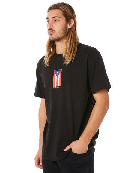 BLACK MENS CLOTHING THRILLS TEES - TW8-110BBLK