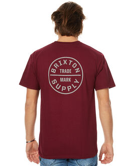 BURGUNDY MENS CLOTHING BRIXTON TEES - 06281BURG