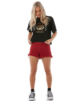 RED WOMENS CLOTHING THRILLS SHORTS - WTDP-310HRED