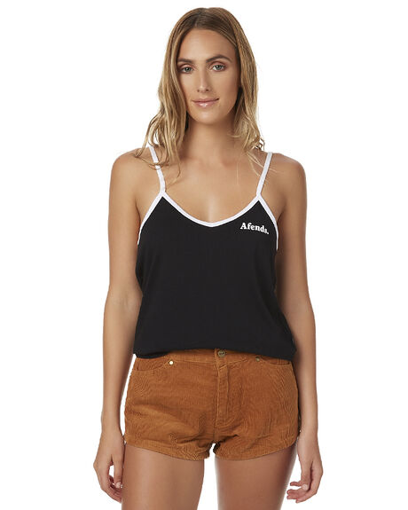 BLACK & WHITE WOMENS CLOTHING AFENDS SINGLETS - 50-06-014BLKW