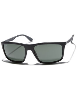 MATTE BLACK GREEN UNISEX ADULTS RAY-BAN SUNGLASSES - 0RB422858601S7