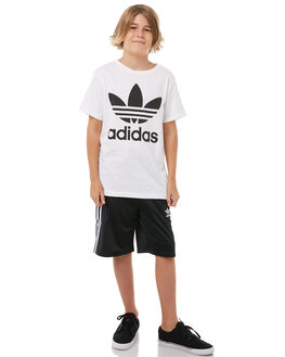 WHITE BLACK KIDS BOYS ADIDAS TEES - CF8546WHBLK
