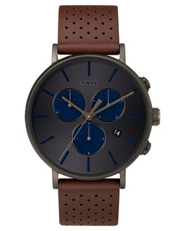 BLACK BROWN GREY MENS ACCESSORIES TIMEX WATCHES - TW2R80000BLKBR