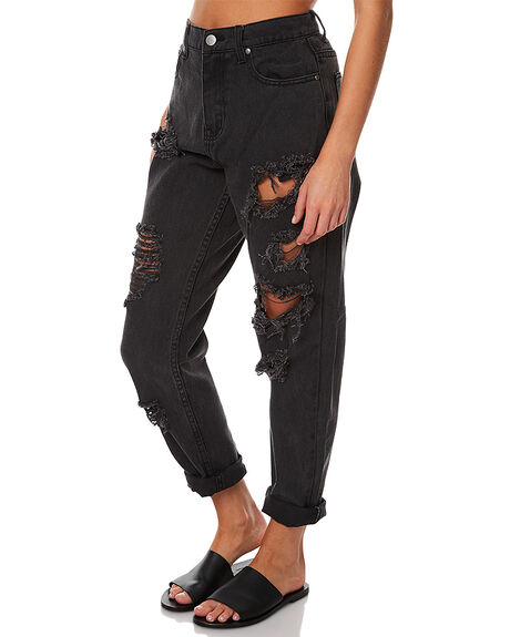 STONE BLACK WOMENS CLOTHING AFENDS JEANS - 53-02-017SBL