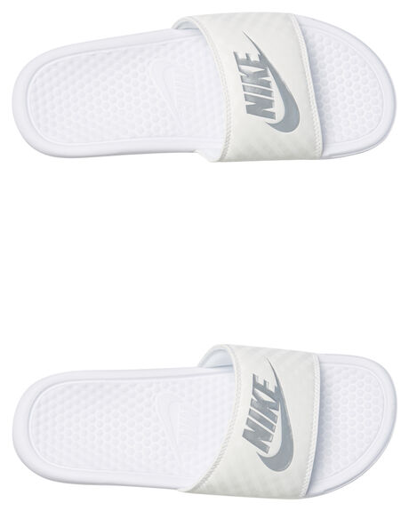 WHT METALLIC SILVER WOMENS FOOTWEAR NIKE SLIDES - 343881-102