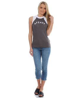 CHARCOAL WHITE WOMENS CLOTHING AFENDS TEES - 51-03-137CWHT