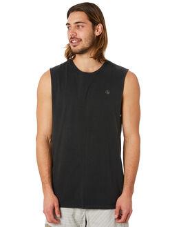 BLACK MENS CLOTHING VOLCOM SINGLETS - A3741774BLK