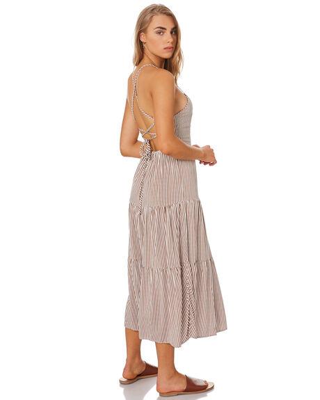 BROWN STRIPE WOMENS CLOTHING ELWOOD DRESSES - W947006IL