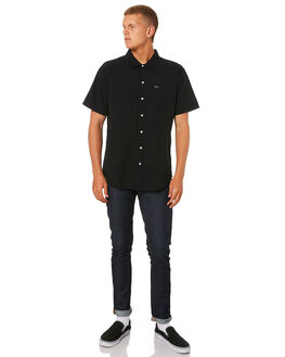 BLACK MENS CLOTHING BRIXTON SHIRTS - 01099BLACK