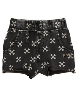 CHARCOAL WASH KIDS TODDLER BOYS ROCK YOUR BABY SHORTS - TBP1829-CBCHARW
