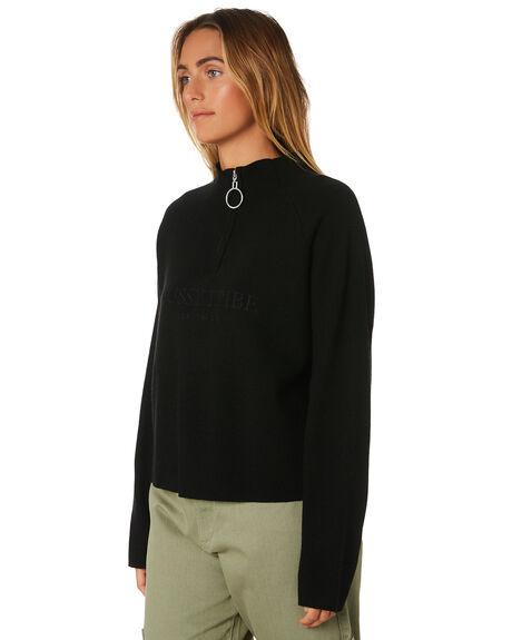 BLACK WOMENS CLOTHING STUSSY KNITS + CARDIGANS - ST196303BLK